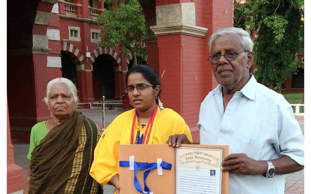 Girl student gets gold medal in Tamil Medium Engineering