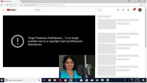 Days after Christian controversy, Nithyasree pulls down YouTube video of her Prabhakaran song that compared him with Lord Muruga